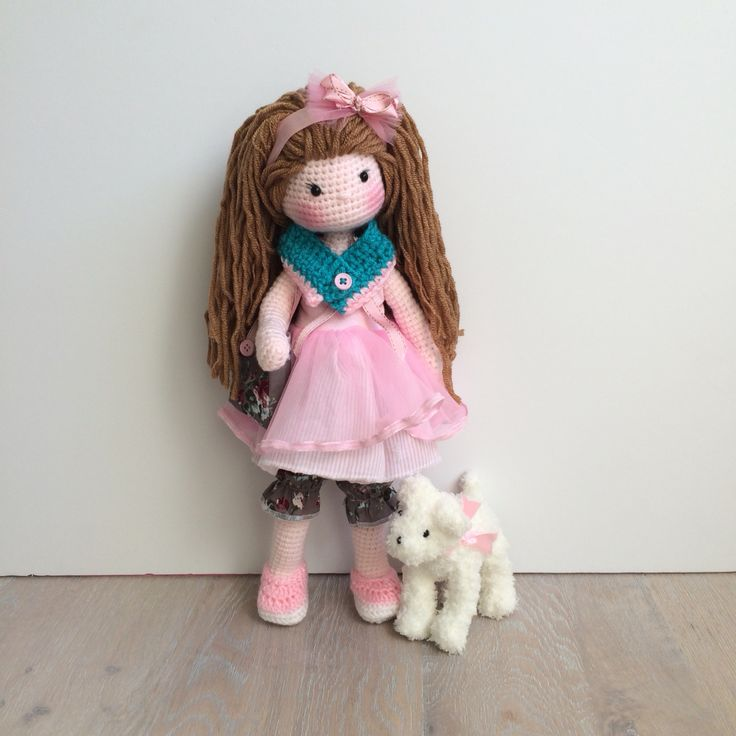 Pink doll and her little doggy crochet