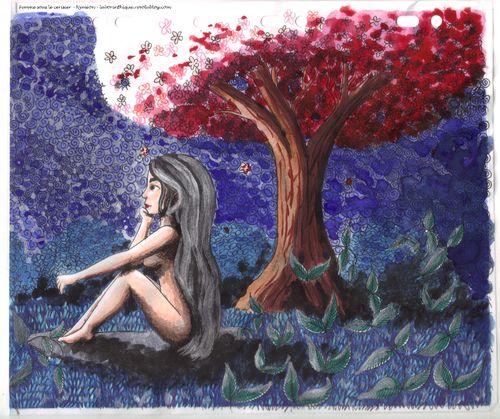 Femme sous le cerisier