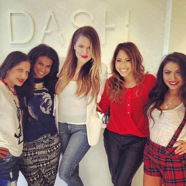 Khloé Kardashian from The Kardashians at DASH  Khloé poses with some of her DASH Dolls, Lexi Ramirez, Jennifer Robi, Missy Flores and Durrani Popal, at the Melrose location.