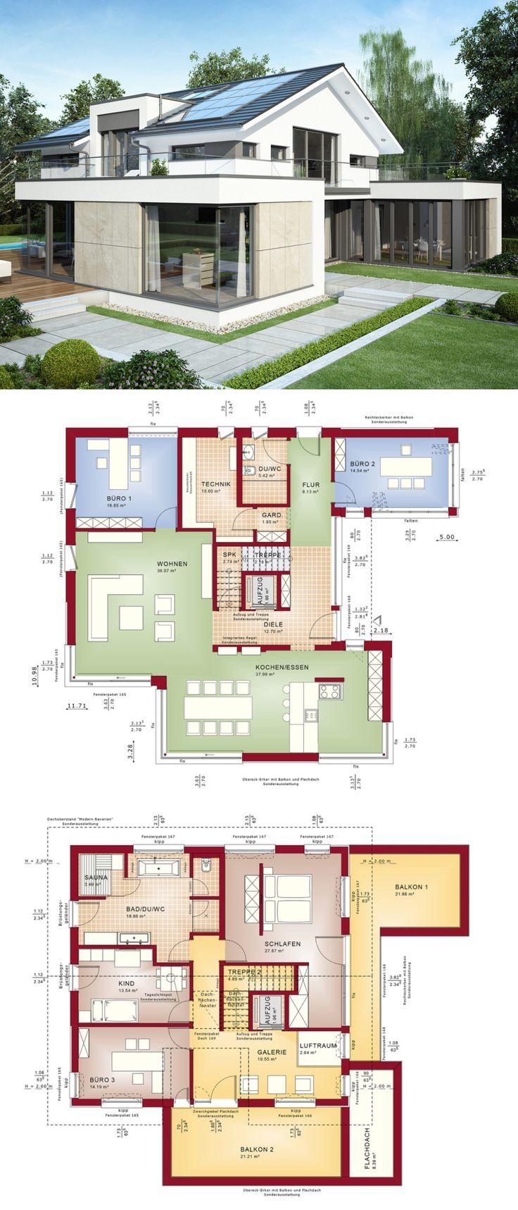 Einfamilienhaus Architektur modern mit Satteldach,…