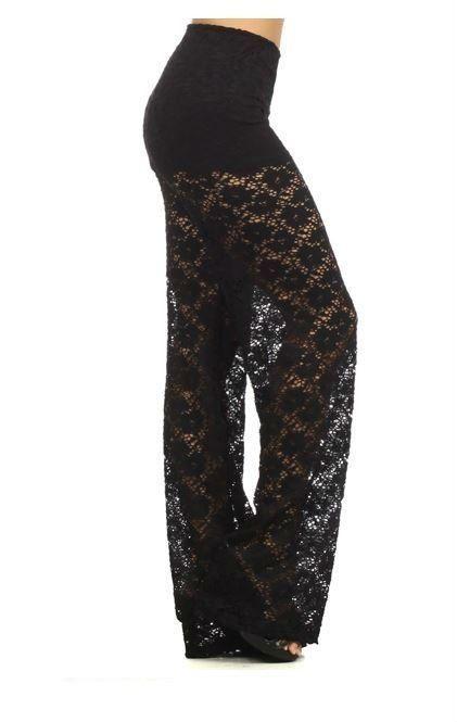 Details about Elegant Black Floral Mesh Lace Wide Leg Lined ...