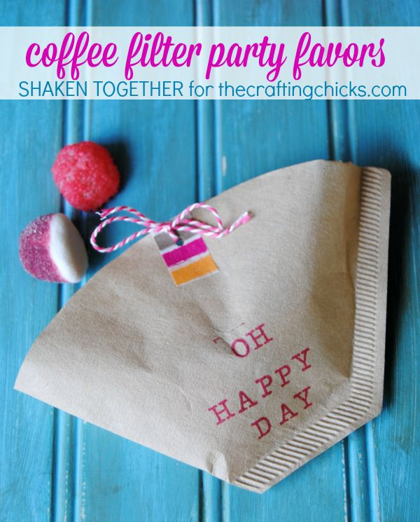 Coffee filter party favors are SO easy to stamp, stuff and share for any party!