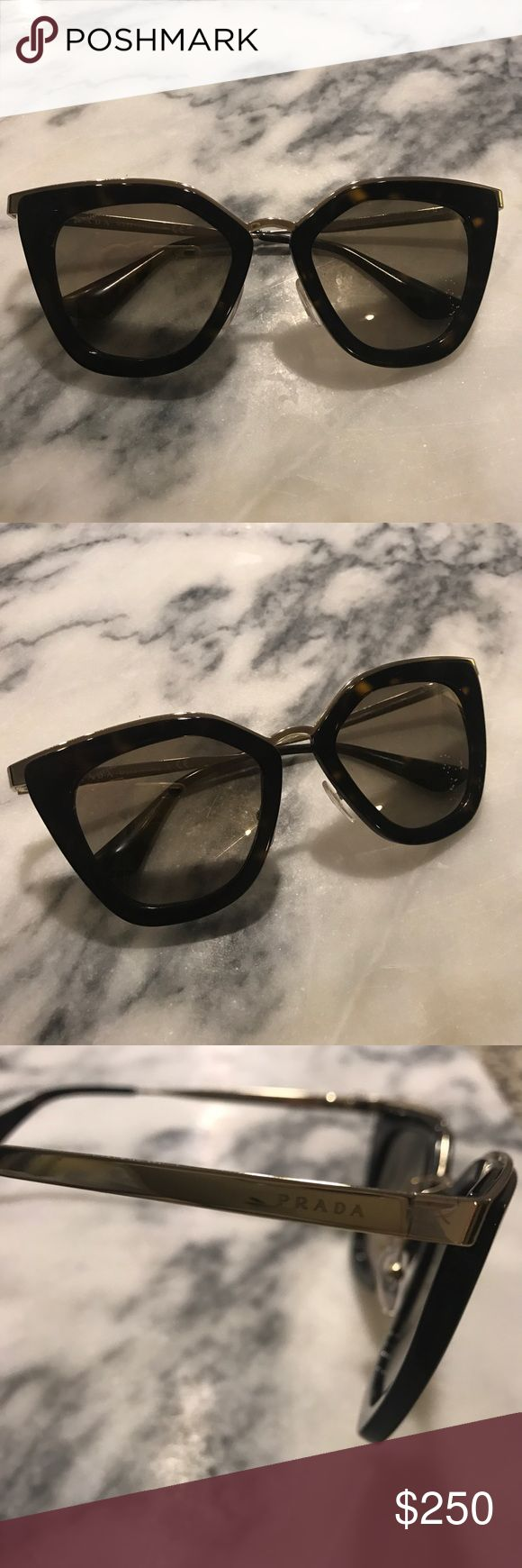 Prada Cinema SPR 53S 2AU-3D0 Tortoise Sunglasses Brand new, never worn. I received as a Christmas gift and just don't love how they look on my face and hoping to purchase a similar pair after selling these.  As you can see in photos there are absolutely no marks, scratches or dings.  They're currently listed on Prada website for $400. This is the Gradient Anthracite Gray to Cammeo Beige Lenses with an acetate frame front in tortoiseshell. Measurements 52-21-140mm.   Comes with case, cloth…