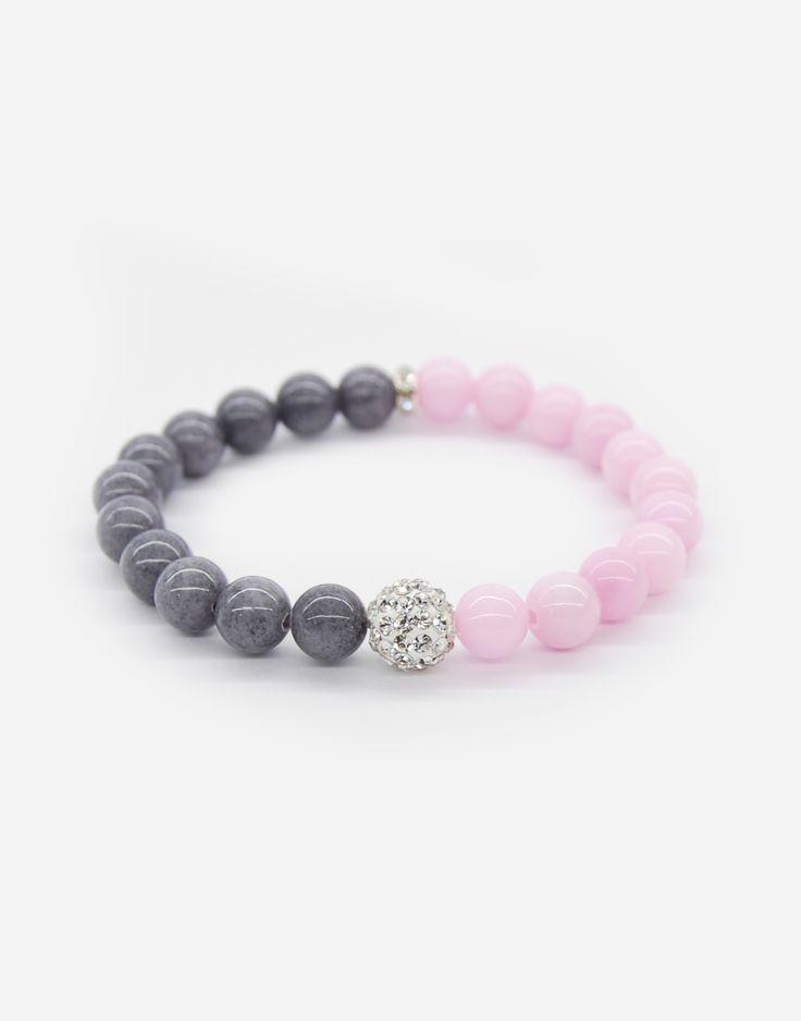 Bransoletka wkładana, na gumce jubilerskiej. 39.90 zł | bracelets , jewlery, fashion #bracelets #bransoletki #jewlery #bizuteria #dodatki #details #fashion #polishbrand #pink #grey