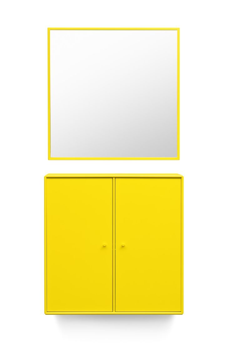 WELCOME is a two-door cabinet with a matching mirror – perfect for the entrance welcoming your easter guests. #montana #furniture #easter #welcome #danish #design #yellow #entrance