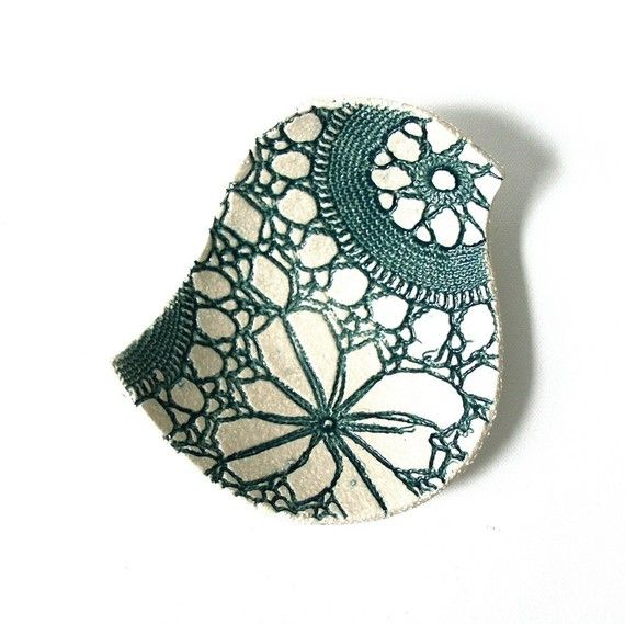 One of a pair of bird dishes decorated by pressing old lace into the still soft clay surface, and glazed in deep teal. #craft #handmade