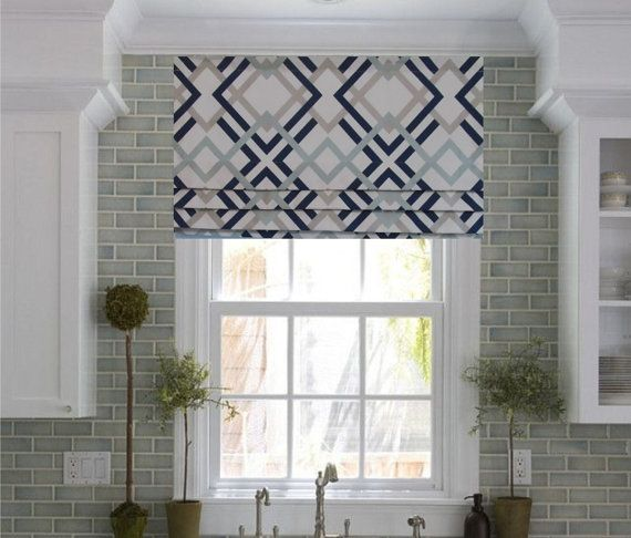 Faux Roman Shade - a modern take on a classic look. Colors include navy, aqua, gray and white.  This listing is for one FAUX Roman Shade in your choice of width up to 52 and length up to 20 including 2-1/2 rod pocket. If you need any different size please contact me for a special order.  THIS IS STATIONARY DECORATIVE VALANCE, DOES NOT GO UP OR DOWN!  Also available: Winston Artichoke - sage, grey, taupe and white pic #3 and Winston Saffron Yellow - blue, grey, yellow and white pic #4 ●…