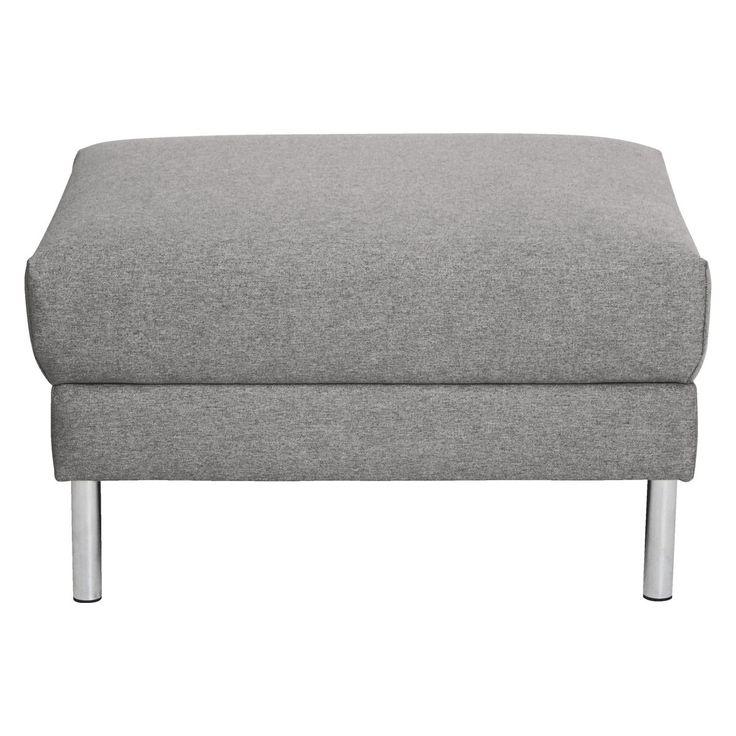 HYDE Grey fabric storage footstool, metal legs
