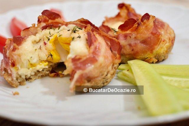 Bacon cu ou la cuptor #10