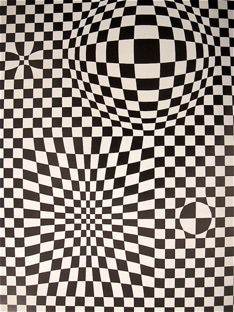 "Victor Vasarely, French (1906-1997) - ""Vega"", Acrylic on canvas (Detail) ~~~MondoBlogo post with optical artwork by different artists"