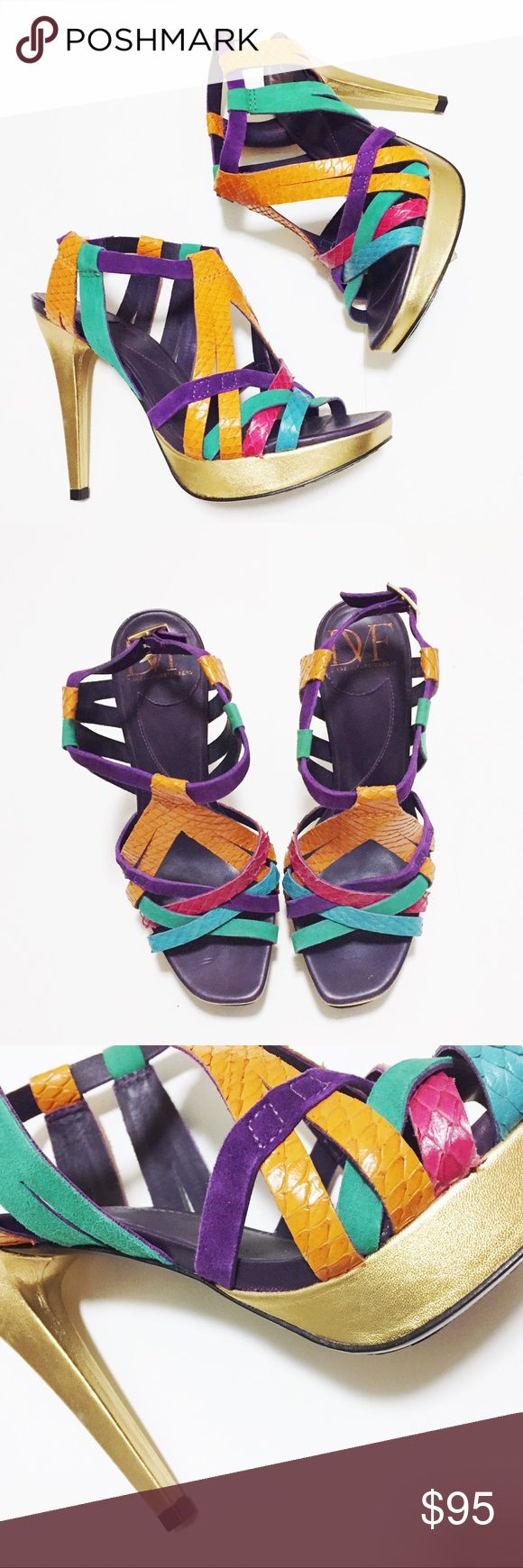 "DVF multi color dress sandals Beautiful multi color, multi material dress sandals by Diane Von Furstenberg. Never been worn, new without box. Heel height 4.5"" Diane Von Furstenberg Shoes Heels"