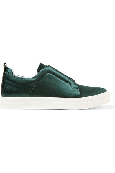 White rubber sole measures approximately 25mm/ 1 inch Emerald satin Slips on Large to size. See Size & Fit notes.As seen in The EDIT magazine
