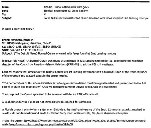 Why Did Huma Abedin Bring Desecration of Koran in Michigan to Sec of State Clinton's Attention?