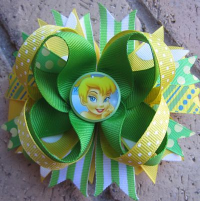 Tinkerbell Custom Boutique Disney Princess Hair Bow by Asil328, $9.99