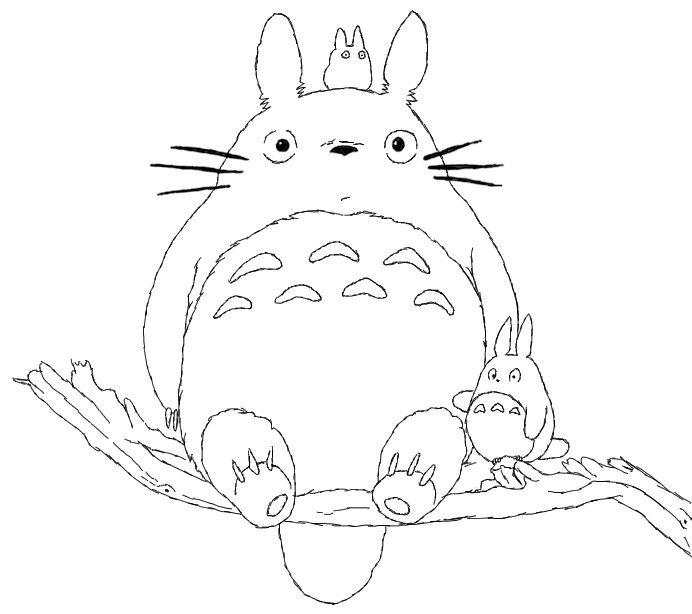 totoro on tree limb coloring page