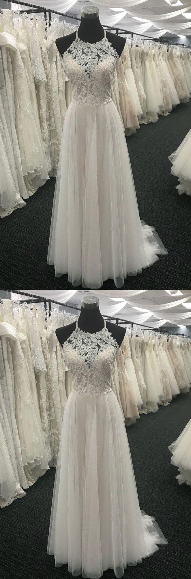 Simple Halter Long Ivory Lace Prom Dress/Wedding Dress Dresses#Promdressesonline#promdresses2018#lacepromdress#whitepromdresses#eveningdresses#beachweddingdresses2018#weddingdresses#weddingpartydresses#bridesmaiddresses#halter