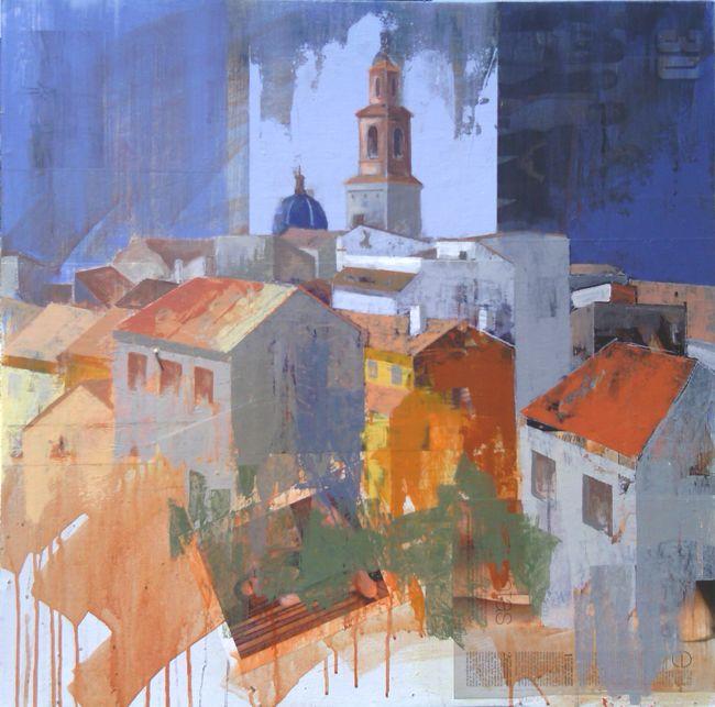 Urbana Rustica XIX - Alcublas / Collage + Acrílico 80 X 80 cm. Seleccionado en: Certamen Pintura Rapida Alcublas 2014