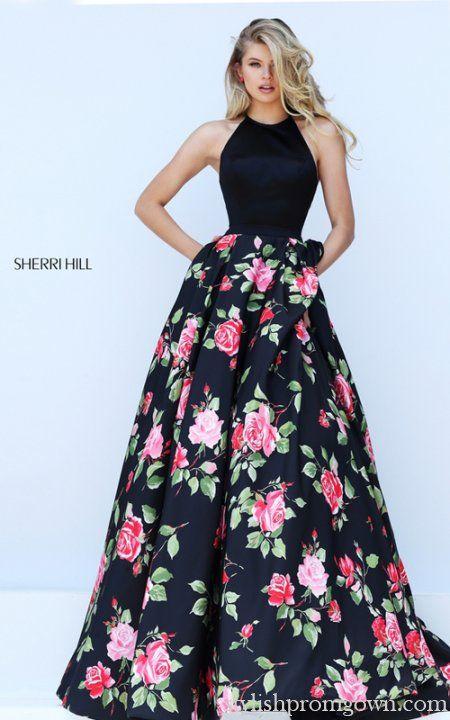 Halter 50333 Sherri Hill Floral Prints 2016 Stylish Prom Gown