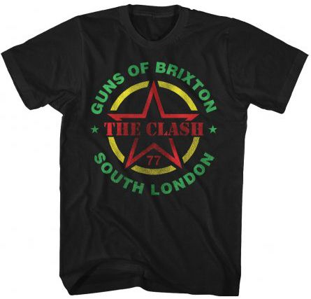 This vintage Clash concert tshirt is from the English punk rock band's 1977 Guns of Brixton show in South London. The Guns of Brixton is the title of a song by The Clash and is the first track of thei