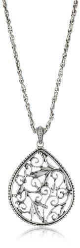 1928 Jewelry Silver Filigree Pendant Necklace