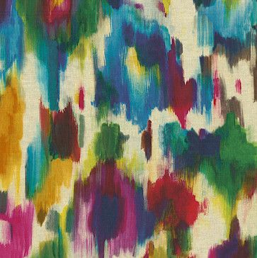 Jewel Tone Dappled Watercolor Linen Fabric - modern - upholstery fabric - Loom Decor