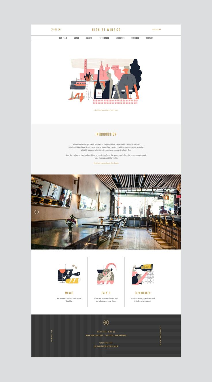 Brand identity and website by Conductor for High Street Wine Co, a wine bar and shop located in San Antonio's Pearl neighbourhood