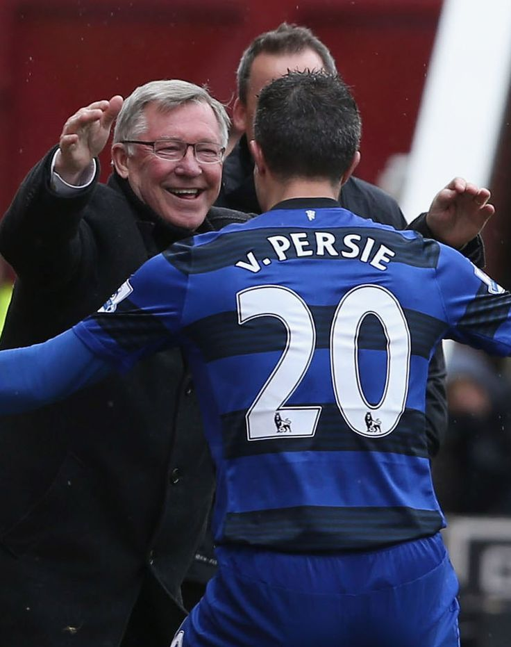 Robin van Persie embraces Sir Alex Ferguson after scoring from the penalty spot in @manutd's 2-0 win over Stoke City at the Britannia Stadium.