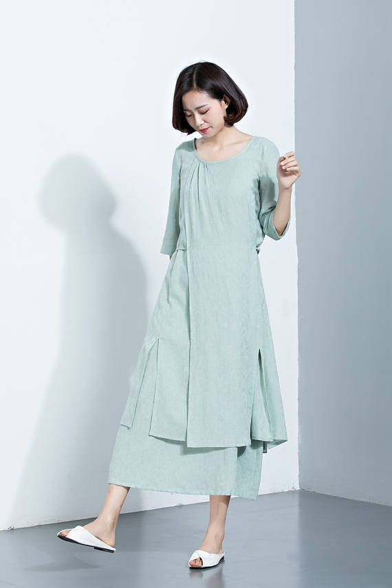 Mint Green Linen DressLayered DressMidi Calf DressPrinted