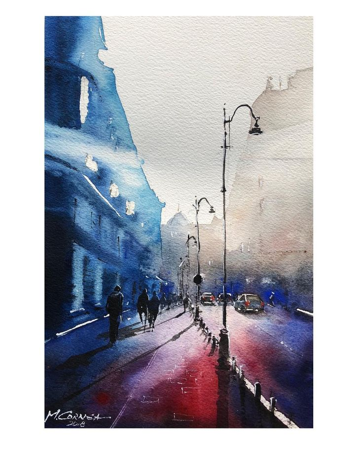 Victoriei Street, Bucharest, watercolor