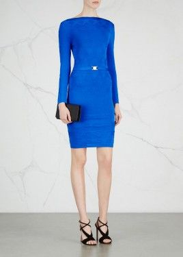 Blue star-jacquard stretch-knit dress