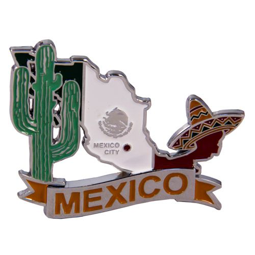 Metal Fridge Magnet: Mexico. Map of Mexico (Chrome Plating and Enamel)