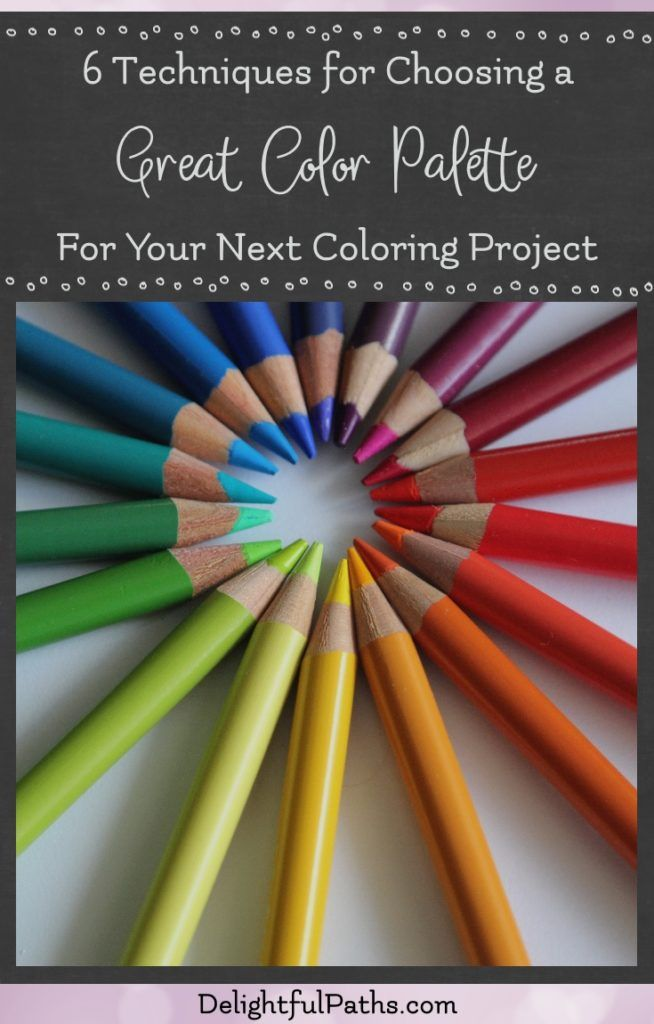 No longer struggle with choosing a great color palette for your next coloring project. These instructions will provide you with 6+ techniques for selecting colors which work well together. | delightfulpaths.com