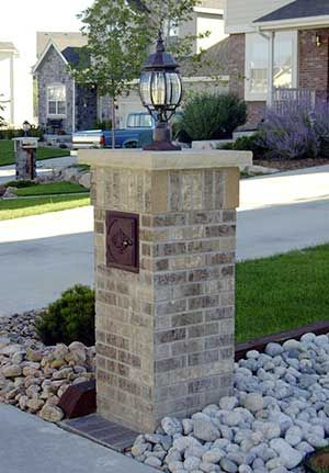 Best Brick Mailbox Ideas On Pinterest White Mailbox Stone - Brick column lit by flush mounted core drilled well light