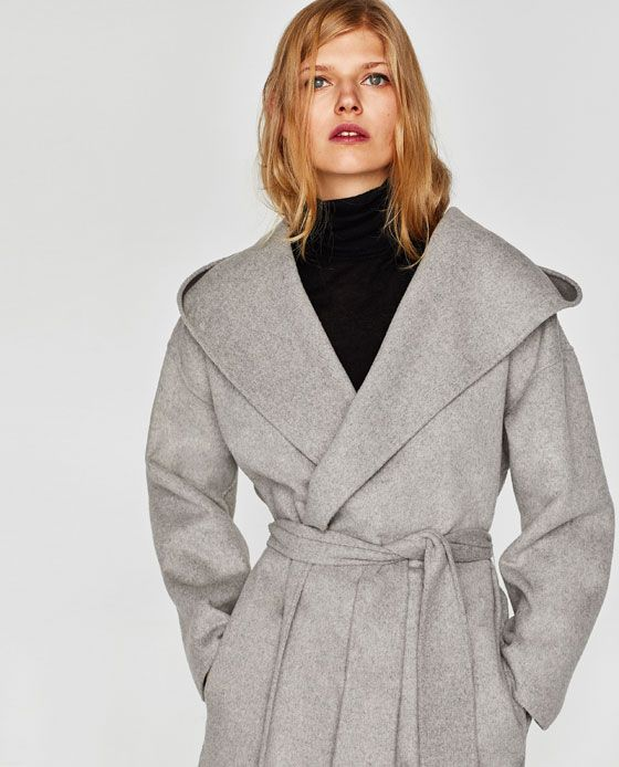 Image 2 of COAT WITH HOOD from Zara