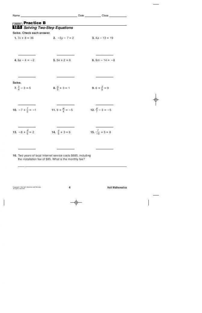 Lesson 3 Homework Practice Solve Equations With Rational ...