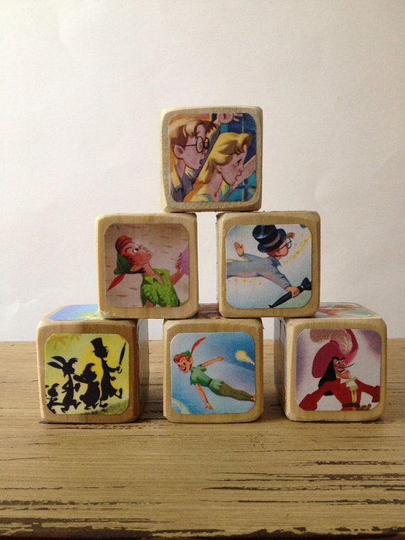 Peter Pan // Childrens Book Blocks // Natural Wood Toy