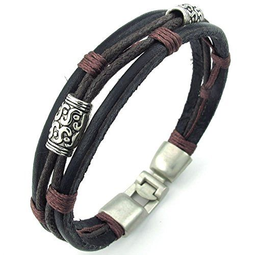 KONOV Jewelry Mens Womens Leather Rope Bracelet, Tribal Braided Cuff Bangle, Brown Black Silver | Amazon Promo Code