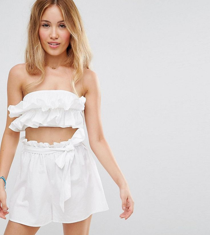 ASOS PETITE Beach Co-ord Bandeau Top with Ruched Frill Detail - White