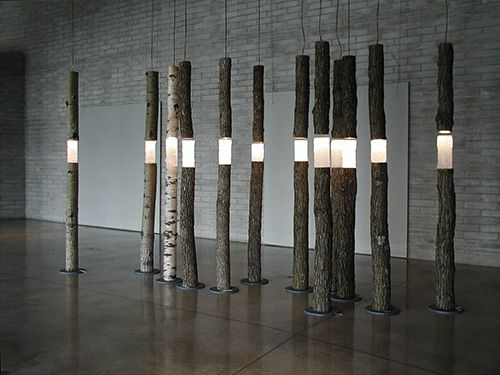 'Arboreal fragments' (2004) - cast glass, found wood, lights 240cm ht Ione Thorkelsson Photo: Robert Barnett www.thorkelsson.com