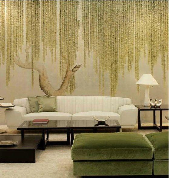 爱 Chinoiserie? Mai Qui! 爱  simple zen chinoiserie wallpaper in green - weeping willow