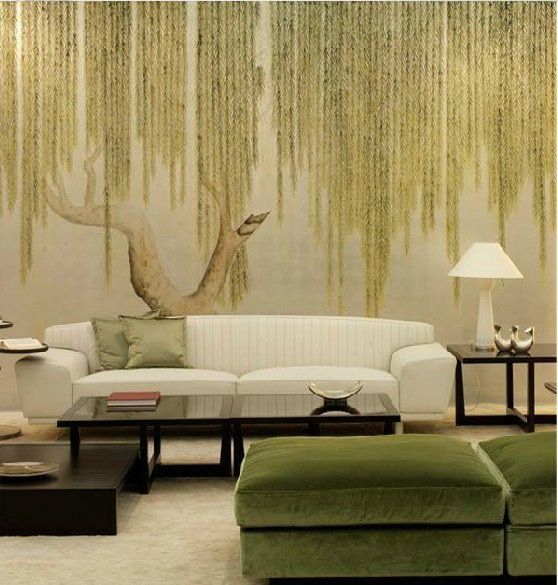 爱 Chinoiserie? Mai Qui! 爱  simple zen chinoiserie wallpaper in green - weeping willow: