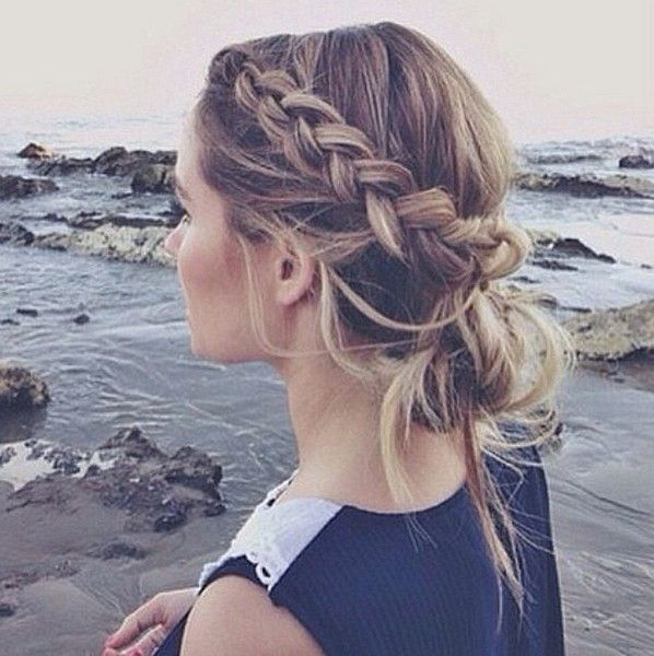 Chunky Side Braid Pulled Into a Messy Bun