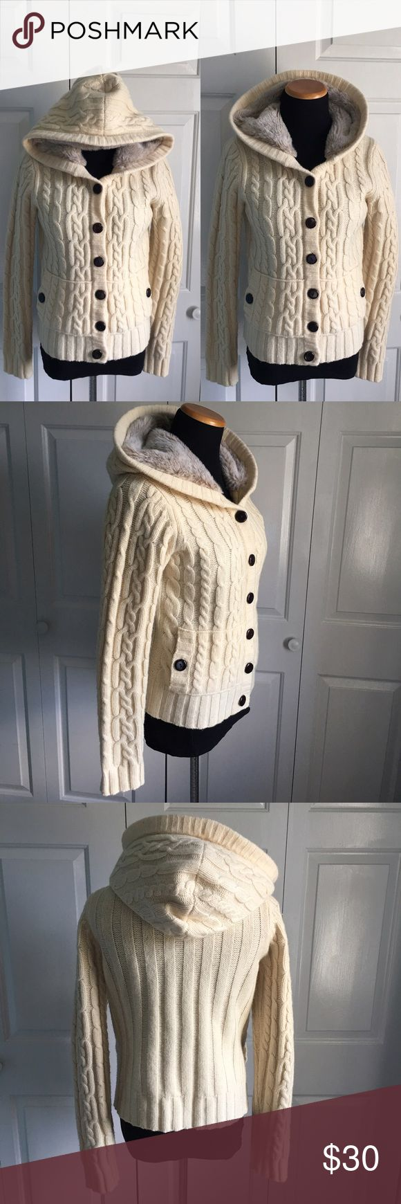 GAP Cable Knit Faux Fur Hoodie Thick and cozy cream colored cable knit button down hoodie with Faux fur in hood. Size medium. Excellent condition! GAP Sweaters