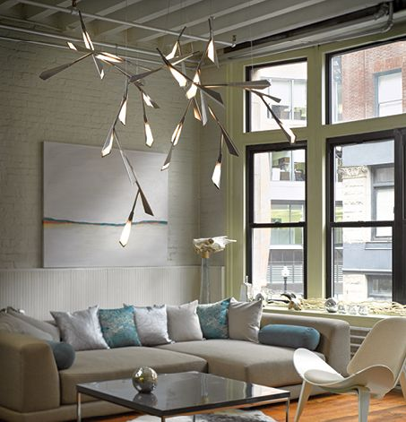 Hubbardton Forge Lighting and Accessories Hand-Forged in Vermont features this contemporary suspended chandelier with loads of visual interest.  It appears to be floating in the room.  #NorthwestLightingandAccents