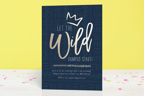 Wild Rumpus Foil-Pressed Children's Birthday Party Invitations by Seven Swans at minted.com