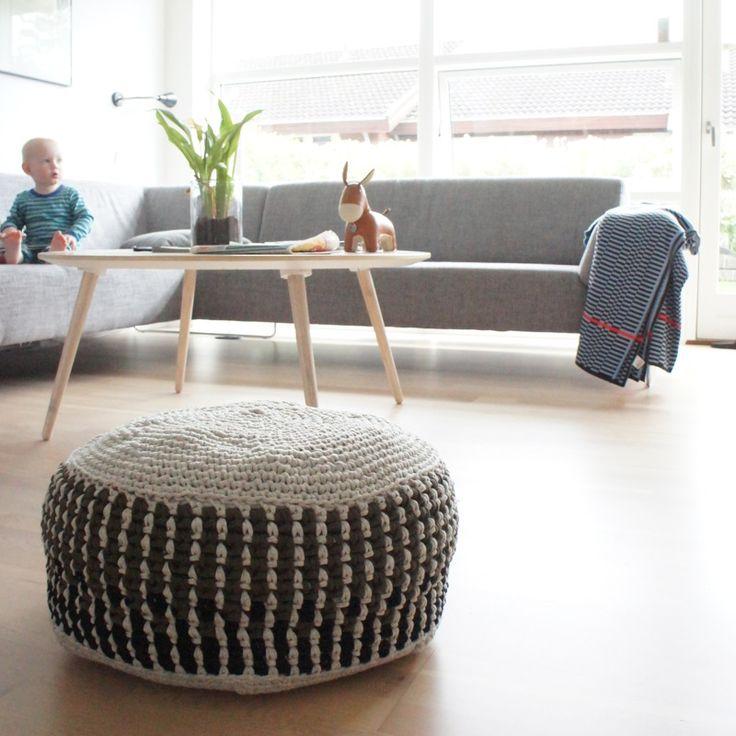 Opskrift på hæklet puf // pattern for crochet pouf…