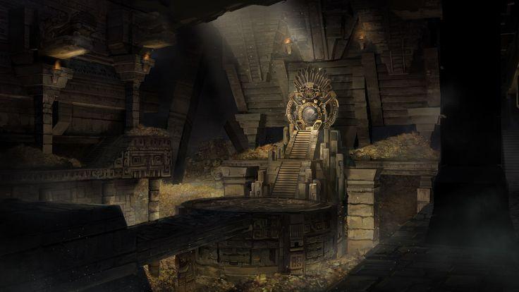 fantasy concept throne mayan room environment artstation castle dark foo xibalba