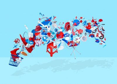 Going primary! Red and white pops on a blue background. By Steve Krug