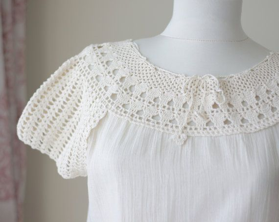 Embroidered Crochet blouse womens Summer clothes Cotton