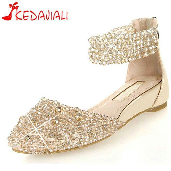 Silver Rhinestone Flat Shoes